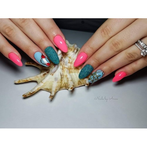 Super Pigment 13 Caribbean Green Gel Unghii HPN  HOLLYWOOD PERFECT NAILS