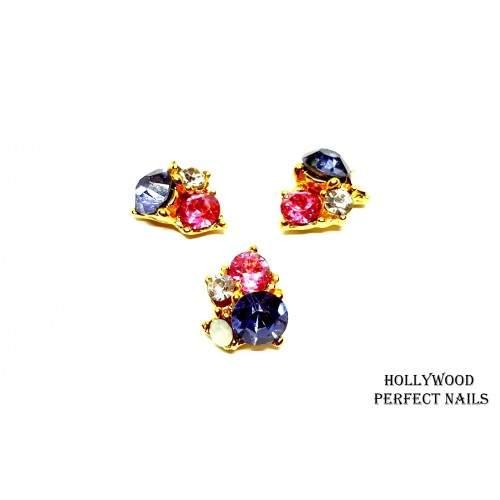 Carusel Cristale Rosii Decoratiuni Unghii  HOLLYWOOD PERFECT NAILS